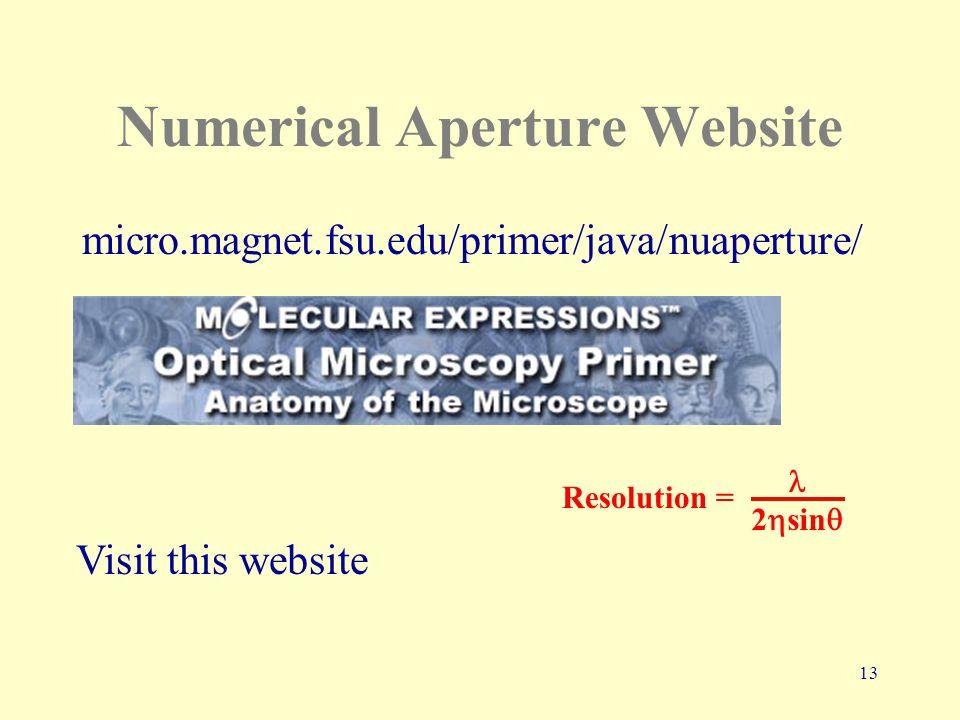 13 Numerical Aperture Website micro.magnet.fsu.edu/primer/java/nuaperture/ Visit this website 2  sin  Resolution =