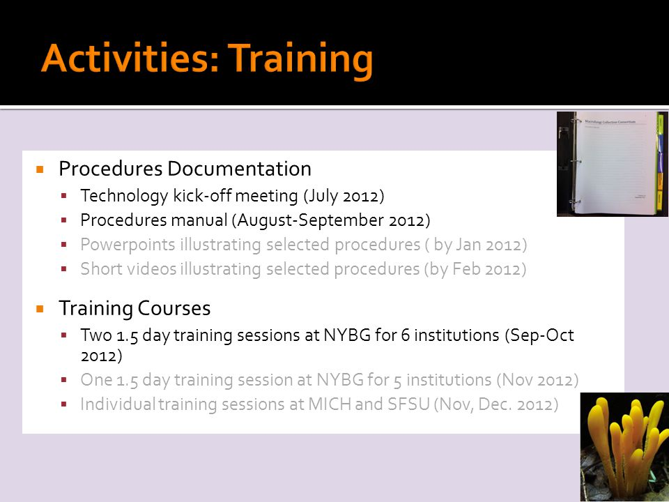  Procedures Documentation  Technology kick-off meeting (July 2012)  Procedures manual (August-September 2012)  Powerpoints illustrating selected procedures ( by Jan 2012)  Short videos illustrating selected procedures (by Feb 2012)  Training Courses  Two 1.5 day training sessions at NYBG for 6 institutions (Sep-Oct 2012)  One 1.5 day training session at NYBG for 5 institutions (Nov 2012)  Individual training sessions at MICH and SFSU (Nov, Dec.