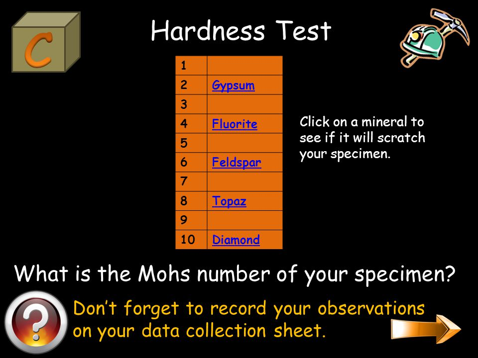 Conduct the streak test. Don't forget to record your observations on your data collection sheet.