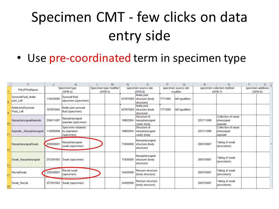 Specimen CMT - few clicks on data entry side Use pre-coordinated term in specimen type