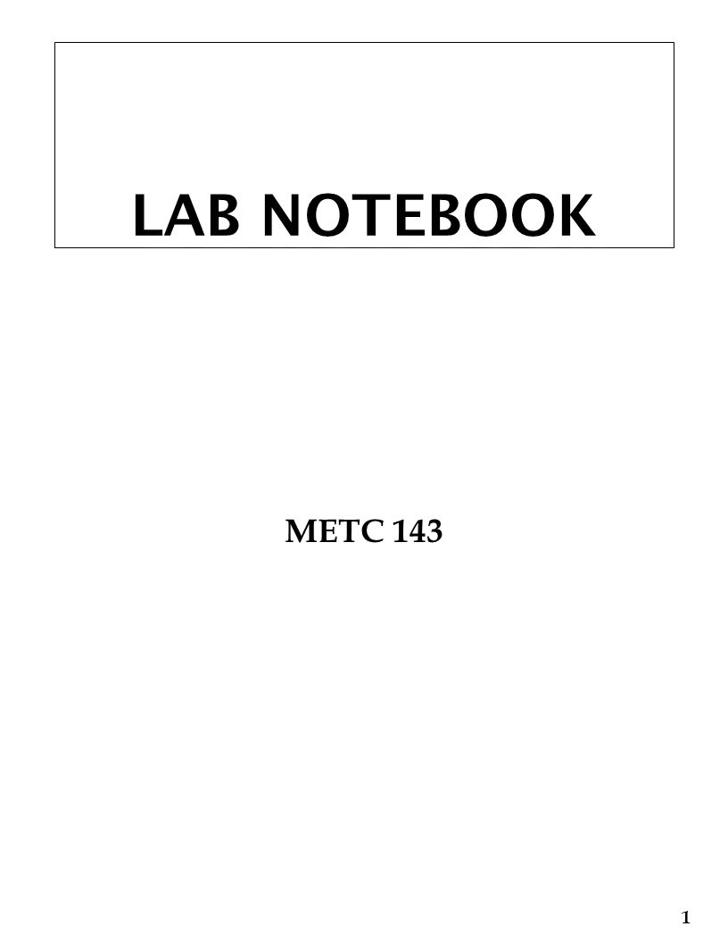 LAB NOTEBOOK METC 143 1