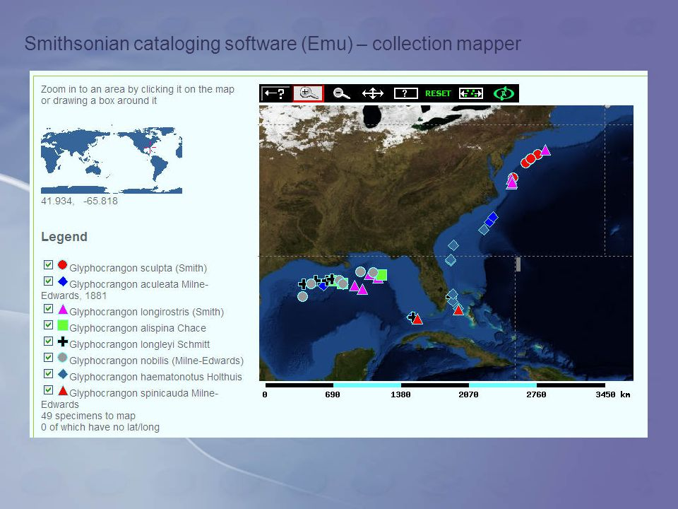 Smithsonian cataloging software (Emu) – collection mapper