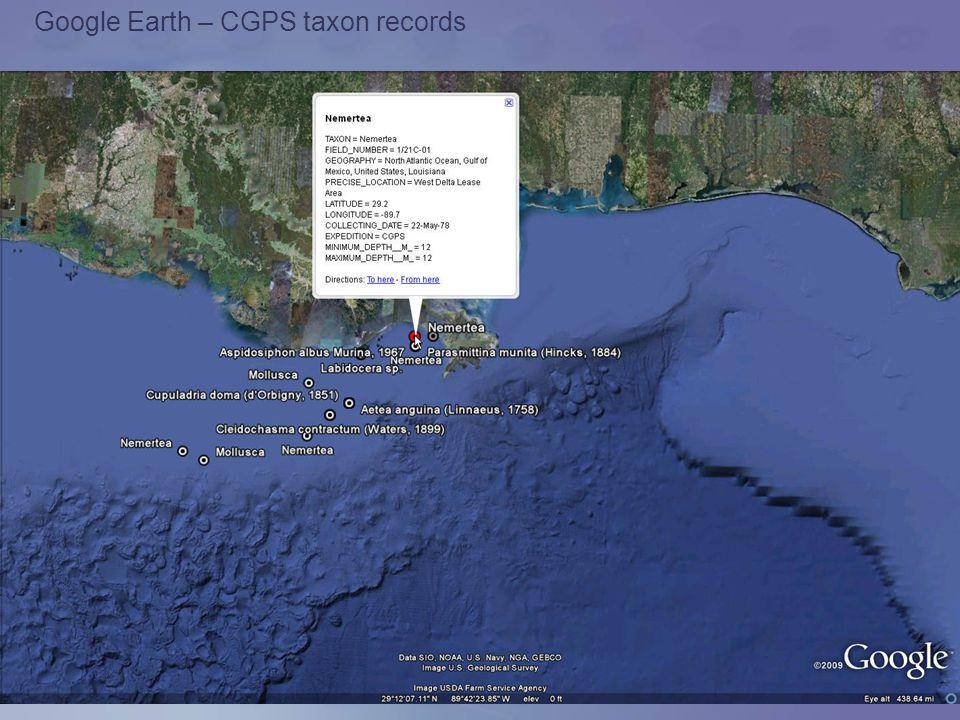 Google Earth – CGPS taxon records