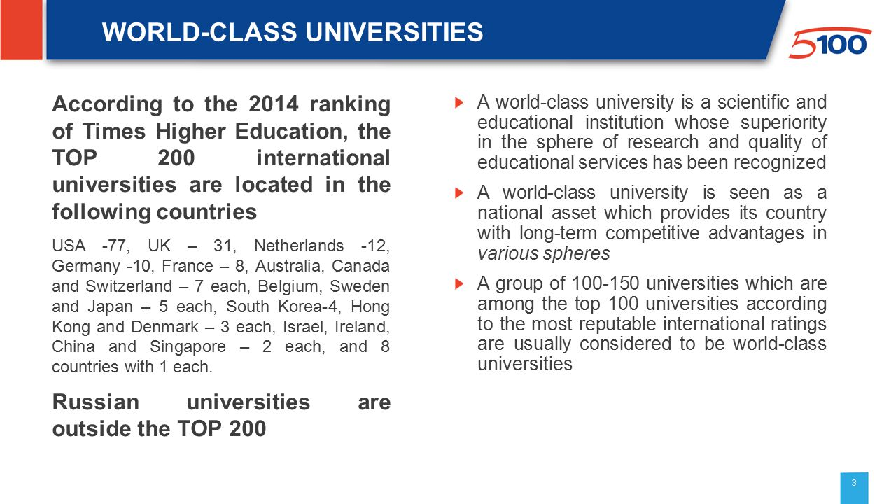WORLD-CLASS UNIVERSITIES According to the 2014 ranking of Times Higher Education, the TOP 200 international universities are located in the following countries USA -77, UK – 31, Netherlands -12, Germany -10, France – 8, Australia, Canada and Switzerland – 7 each, Belgium, Sweden and Japan – 5 each, South Korea-4, Hong Kong and Denmark – 3 each, Israel, Ireland, China and Singapore – 2 each, and 8 countries with 1 each.