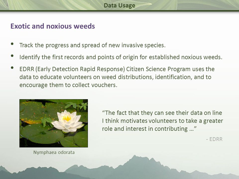 Data Usage Exotic and noxious weeds Track the progress and spread of new invasive species.