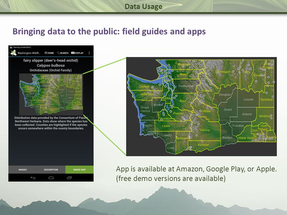 Data Usage Bringing data to the public: field guides and apps App is available at Amazon, Google Play, or Apple.