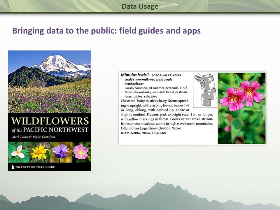 Data Usage Bringing data to the public: field guides and apps