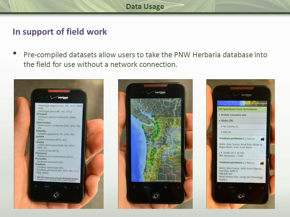 Data Usage In support of field work Pre-compiled datasets allow users to take the PNW Herbaria database into the field for use without a network connection.