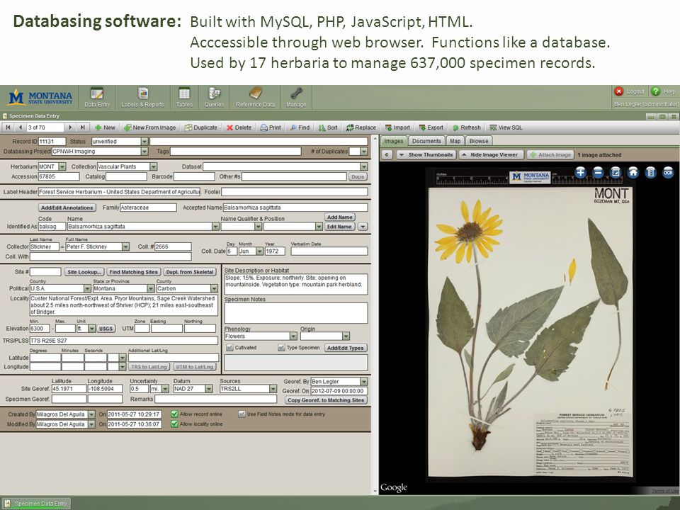 Databasing software: Built with MySQL, PHP, JavaScript, HTML.
