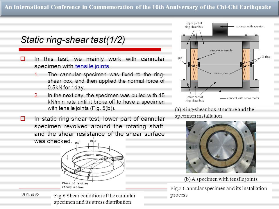 An International Conference in Commemoration of the 10th Anniversary of the Chi-Chi Earthquake Static ring-shear test(1/2)  In this test, we mainly work with cannular specimen with tensile joints.
