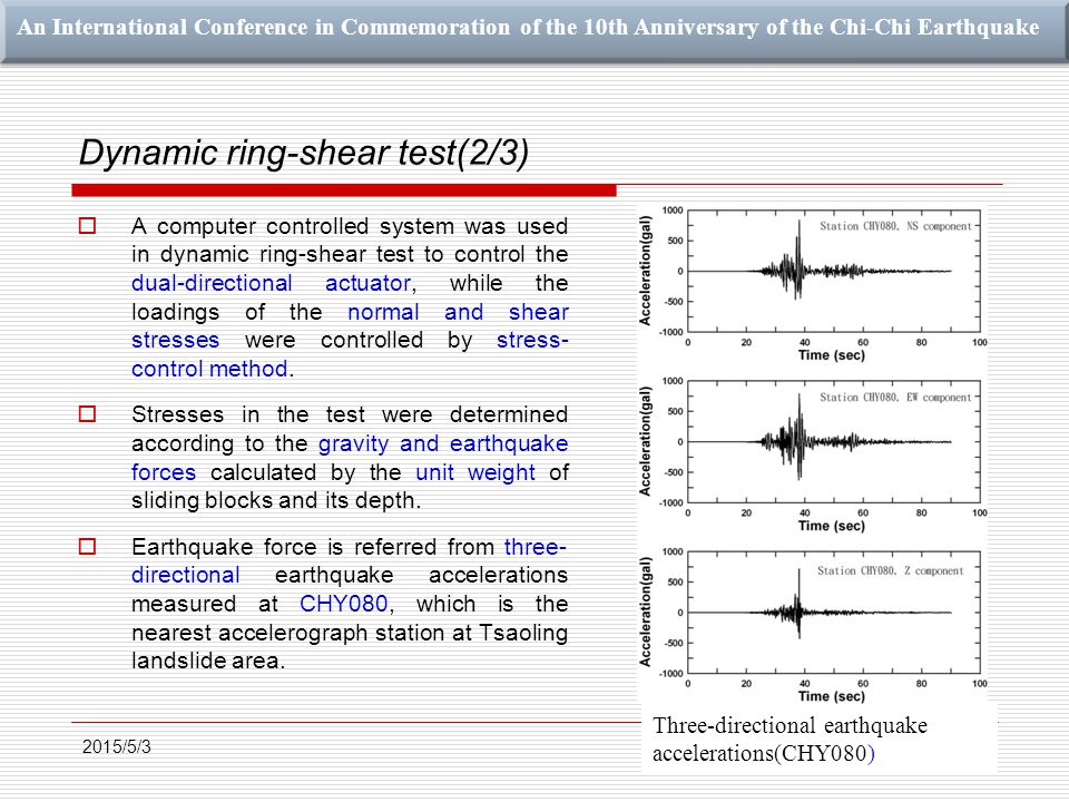 An International Conference in Commemoration of the 10th Anniversary of the Chi-Chi Earthquake Dynamic ring-shear test(2/3)  A computer controlled system was used in dynamic ring-shear test to control the dual-directional actuator, while the loadings of the normal and shear stresses were controlled by stress- control method.