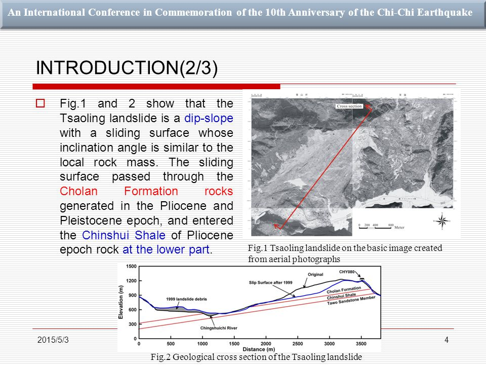 An International Conference in Commemoration of the 10th Anniversary of the Chi-Chi Earthquake INTRODUCTION(2/3) 4  Fig.1 and 2 show that the Tsaoling landslide is a dip-slope with a sliding surface whose inclination angle is similar to the local rock mass.