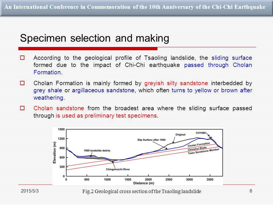 An International Conference in Commemoration of the 10th Anniversary of the Chi-Chi Earthquake Specimen selection and making  According to the geological profile of Tsaoling landslide, the sliding surface formed due to the impact of Chi-Chi earthquake passed through Cholan Formation.