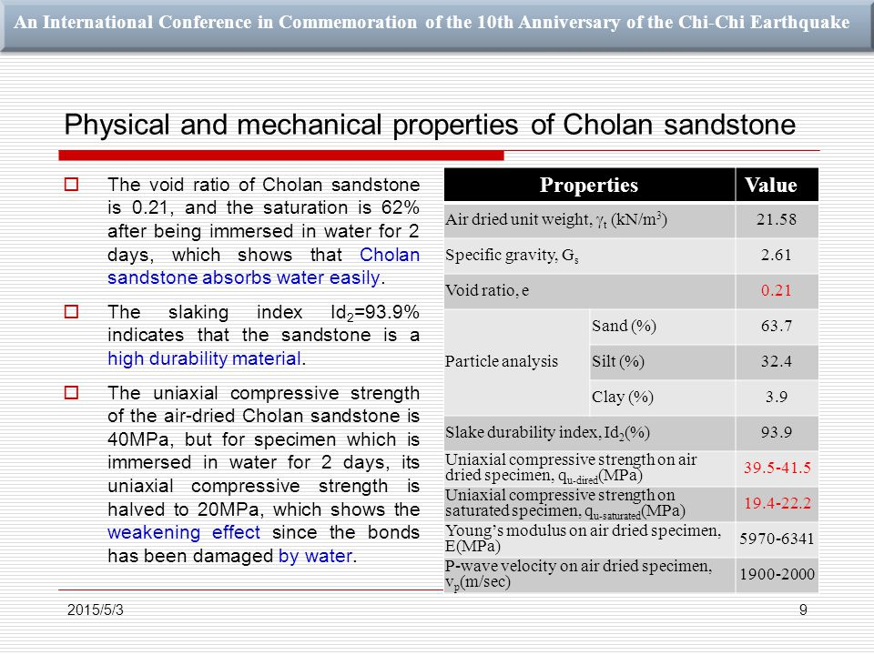 An International Conference in Commemoration of the 10th Anniversary of the Chi-Chi Earthquake Physical and mechanical properties of Cholan sandstone  The void ratio of Cholan sandstone is 0.21, and the saturation is 62% after being immersed in water for 2 days, which shows that Cholan sandstone absorbs water easily.