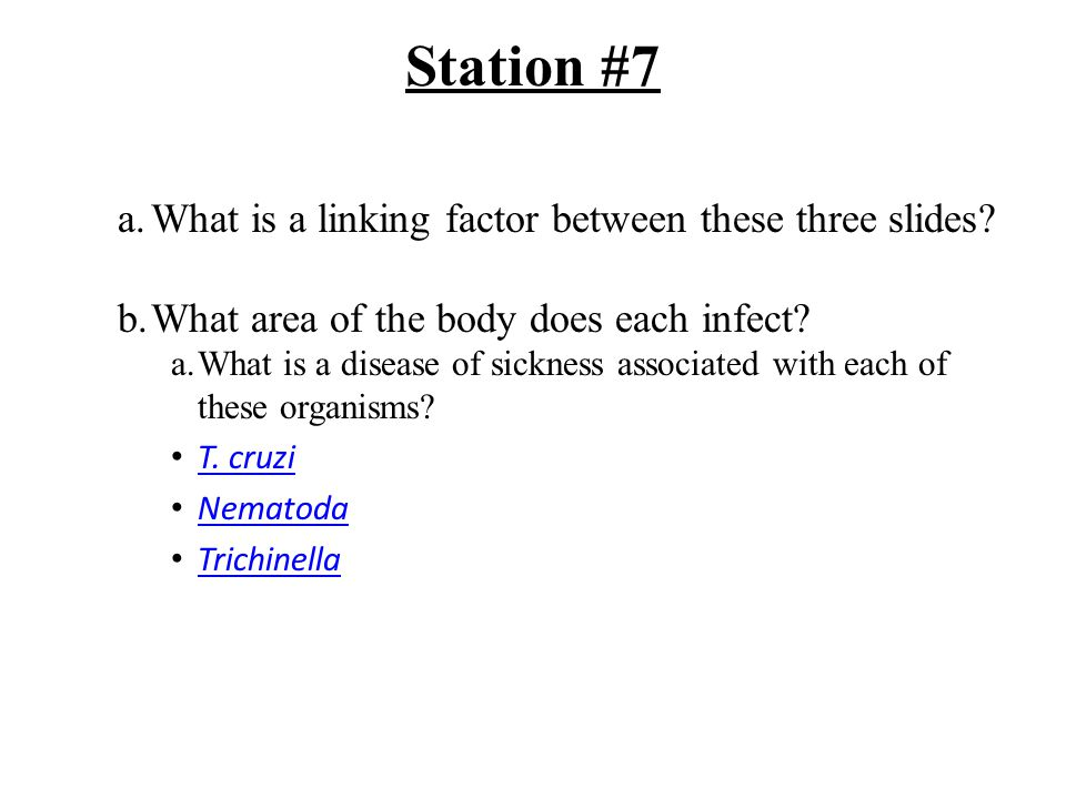Station #7 a.What is a linking factor between these three slides.