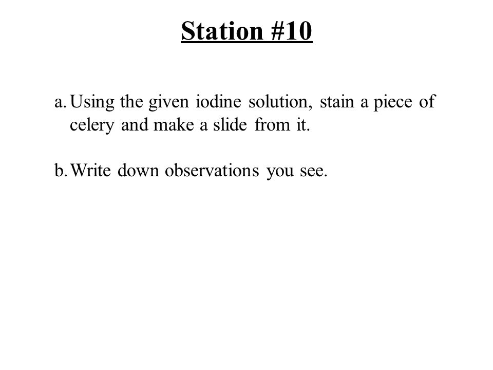 Station #10 a.Using the given iodine solution, stain a piece of celery and make a slide from it.