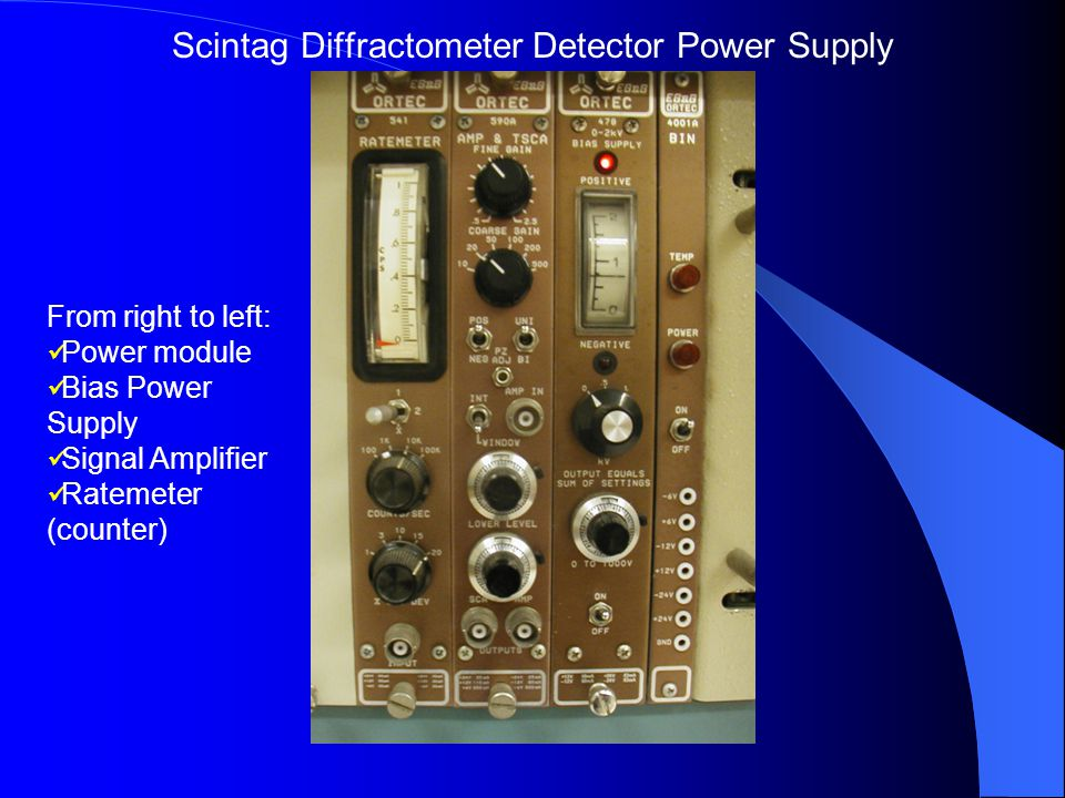 From right to left: Power module Bias Power Supply Signal Amplifier Ratemeter (counter) Scintag Diffractometer Detector Power Supply