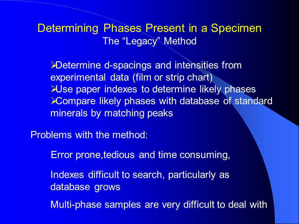  Determine d-spacings and intensities from experimental data (film or strip chart)  Use paper indexes to determine likely phases  Compare likely phases with database of standard minerals by matching peaks Problems with the method: Error prone,tedious and time consuming, Indexes difficult to search, particularly as database grows Multi-phase samples are very difficult to deal with Determining Phases Present in a Specimen The Legacy Method