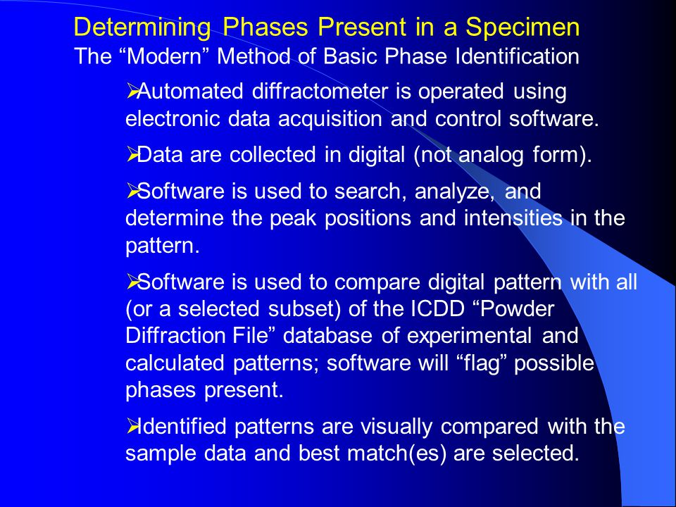  Automated diffractometer is operated using electronic data acquisition and control software.