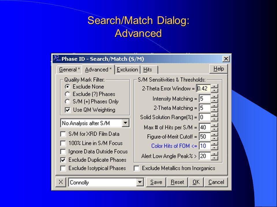 Search/Match Dialog: Advanced