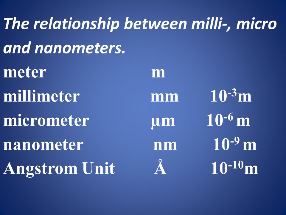The relationship between milli-, micro and nanometers.
