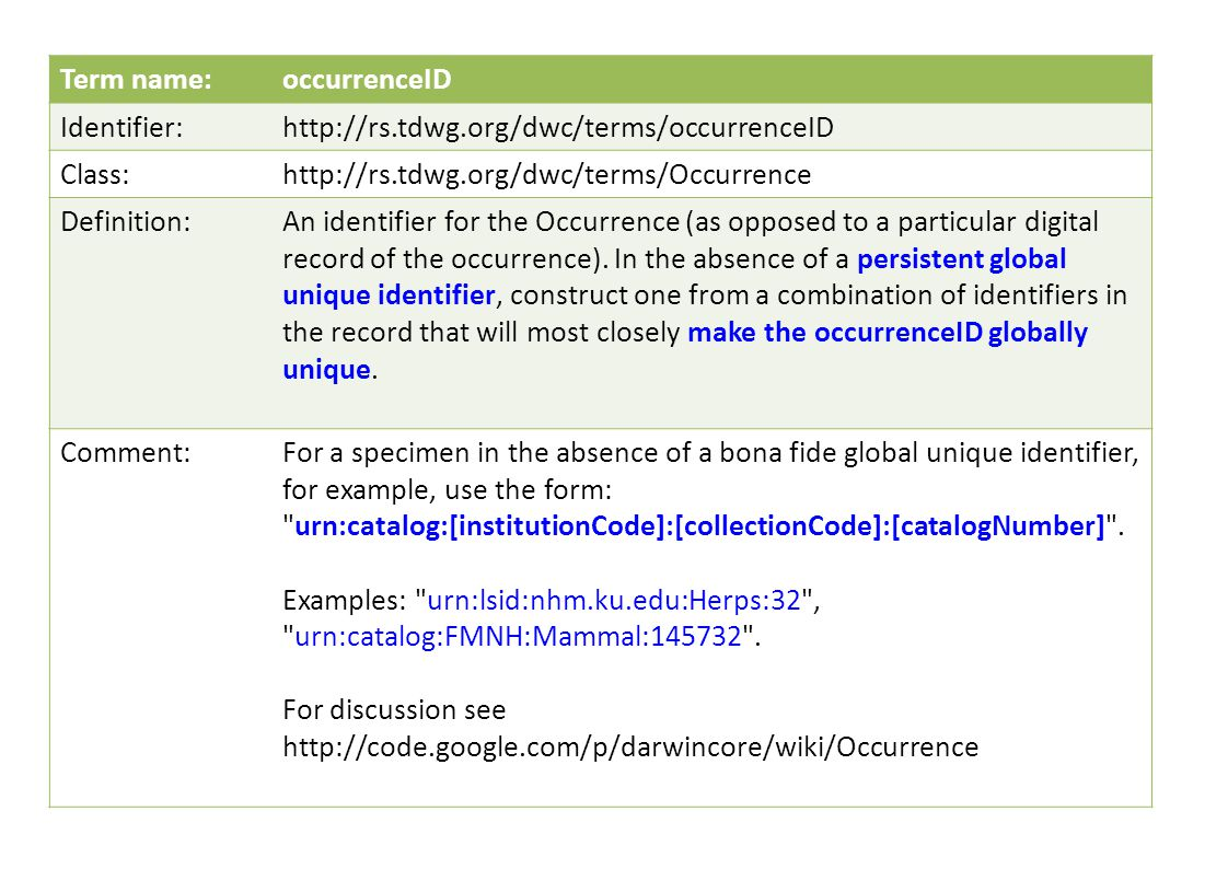 Term name:occurrenceID Identifier:http://rs.tdwg.org/dwc/terms/occurrenceID Class:http://rs.tdwg.org/dwc/terms/Occurrence Definition:An identifier for