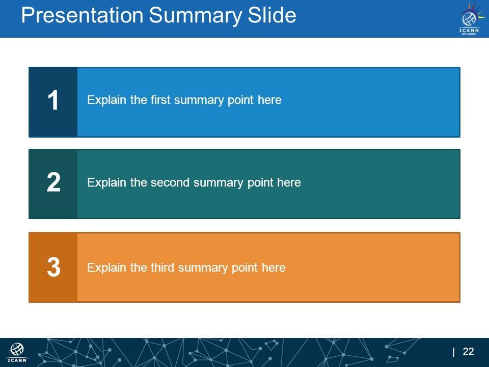 | 22 Presentation Summary Slide 1 Explain the first summary point here 2 Explain the second summary point here 3 Explain the third summary point here