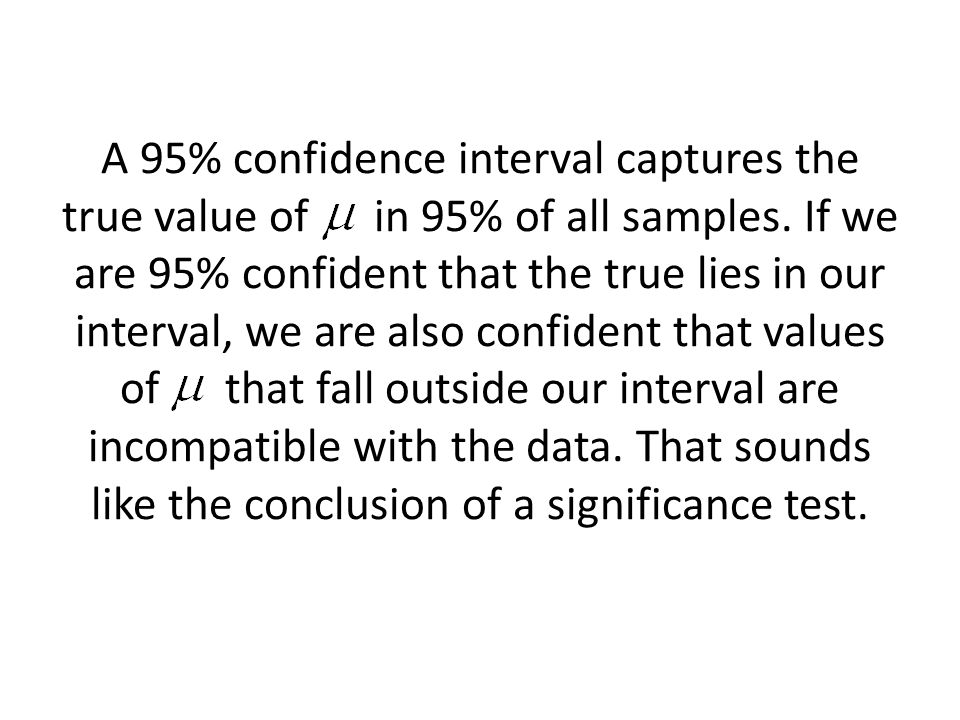 A 95% confidence interval captures the true value of in 95% of all samples.