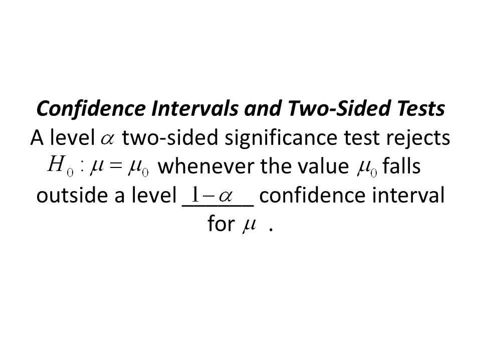 Confidence Intervals and Two-Sided Tests A level two-sided significance test rejects whenever the value falls outside a level ______ confidence interval for.
