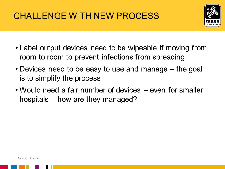 Zebra Confidential CHALLENGE WITH NEW PROCESS Label output devices need to be wipeable if moving from room to room to prevent infections from spreading Devices need to be easy to use and manage – the goal is to simplify the process Would need a fair number of devices – even for smaller hospitals – how are they managed