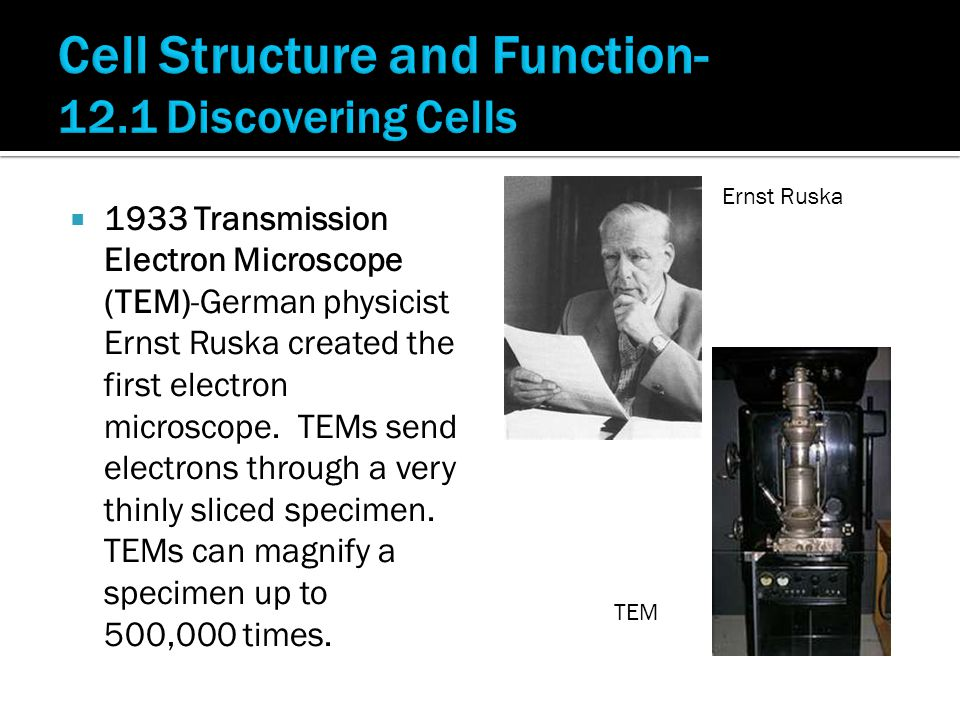  1933 Transmission Electron Microscope (TEM)-German physicist Ernst Ruska created the first electron microscope.