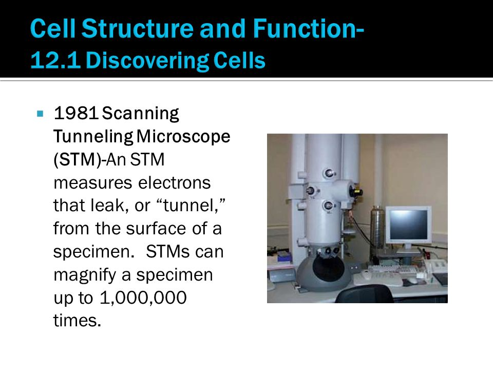  1981 Scanning Tunneling Microscope (STM)-An STM measures electrons that leak, or tunnel, from the surface of a specimen.