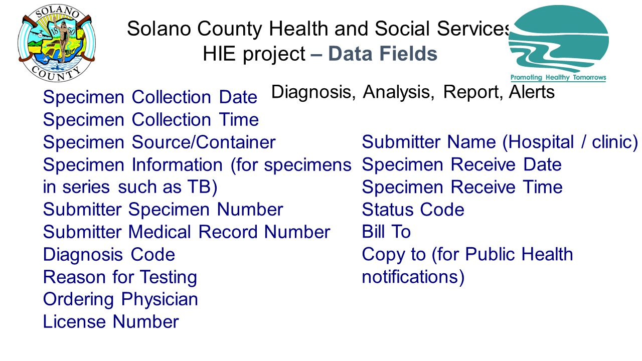 Solano County Health and Social Services HIE project – Data Fields Diagnosis, Analysis, Report, Alerts Specimen Collection Date Specimen Collection Time Specimen Source/Container Specimen Information (for specimens in series such as TB) Submitter Specimen Number Submitter Medical Record Number Diagnosis Code Reason for Testing Ordering Physician License Number Submitter Name (Hospital / clinic) Specimen Receive Date Specimen Receive Time Status Code Bill To Copy to (for Public Health notifications)