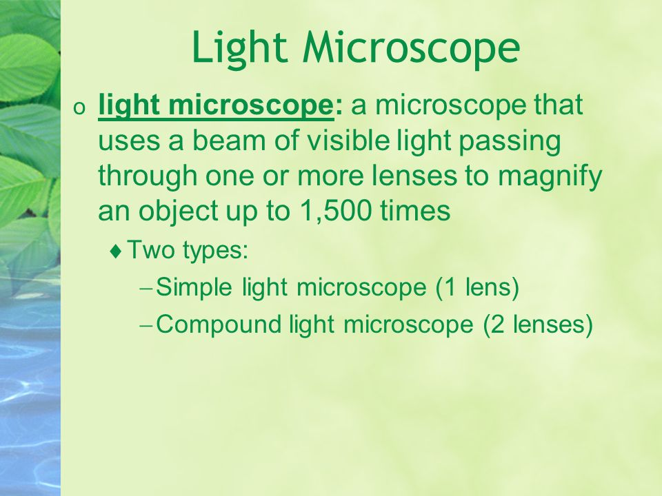 Light Microscope o light microscope: a microscope that uses a beam of visible light passing through one or more lenses to magnify an object up to 1,500 times  Two types:  Simple light microscope (1 lens)  Compound light microscope (2 lenses)