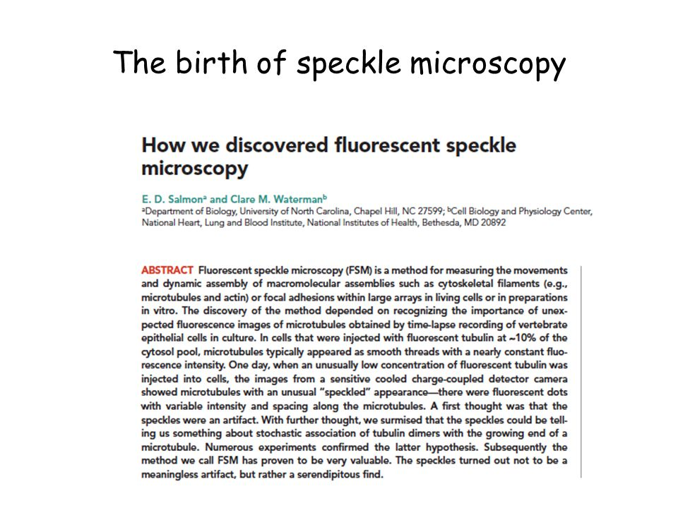 The birth of speckle microscopy