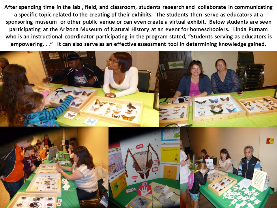After spending time in the lab, field, and classroom, students research and collaborate in communicating a specific topic related to the creating of t