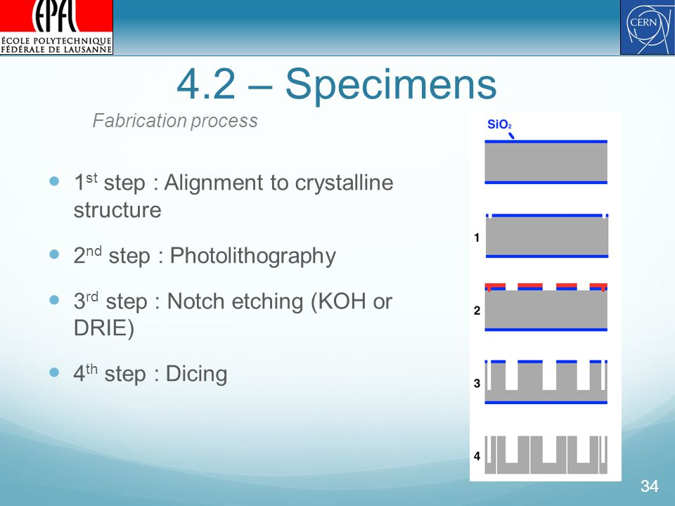 4.2 – Specimens 34 1 st step : Alignment to crystalline structure 2 nd step : Photolithography 3 rd step : Notch etching (KOH or DRIE) 4 th step : Dicing Fabrication process