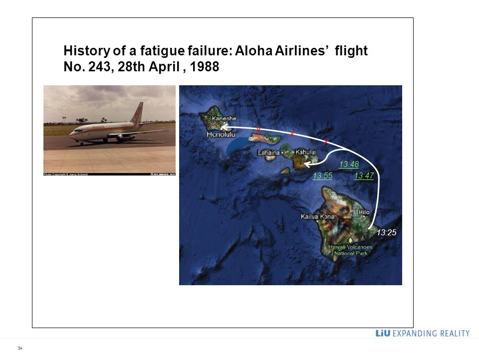 34 History of a fatigue failure: Aloha Airlines' flight No. 243, 28th April, 1988 13:25 13:48 X X X 13:5513:47