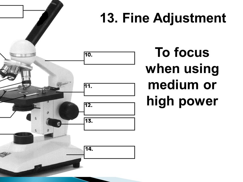 13. Fine Adjustment To focus when using medium or high power