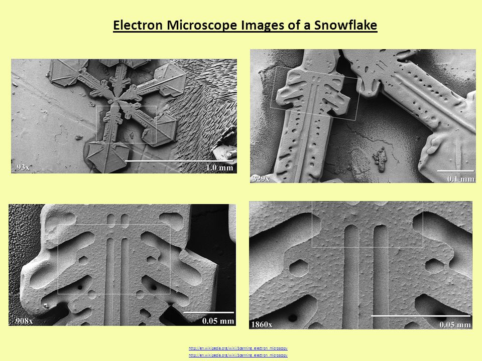 Electron Microscope Images of a Snowflake http://en.wikipedia.org/wiki/Scanning_electron_microscopy