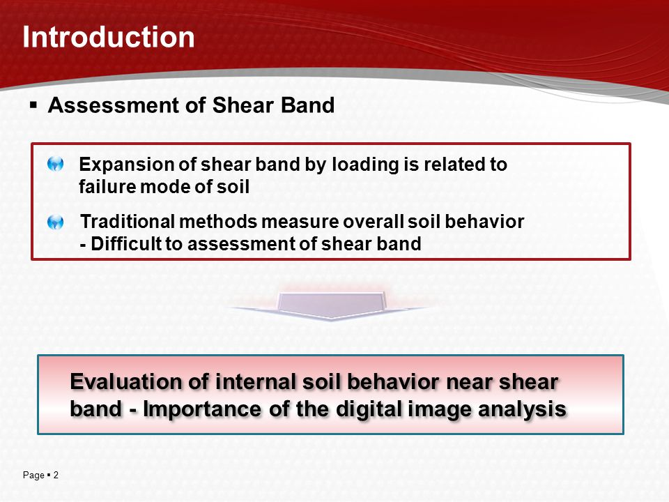 Page  2 Introduction  Assessment of Shear Band Expansion of shear band by loading is related to failure mode of soil Traditional methods measure ove