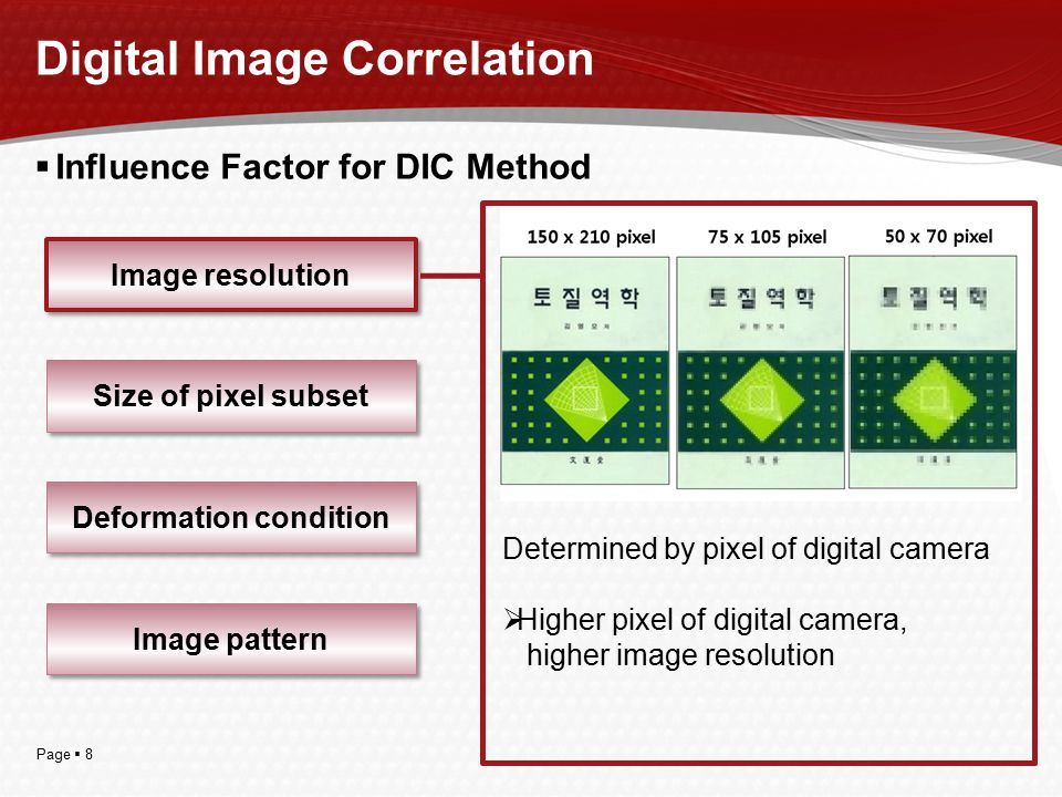 Page  8  Influence Factor for DIC Method Digital Image Correlation Image resolution Size of pixel subset Deformation condition Image pattern Determi