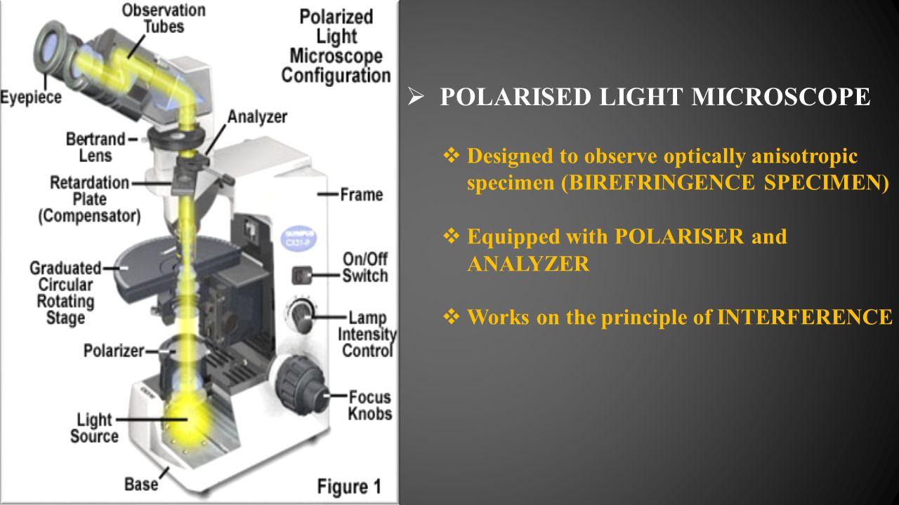  POLARISED LIGHT MICROSCOPE  Designed to observe optically anisotropic specimen (BIREFRINGENCE SPECIMEN)  Equipped with POLARISER and ANALYZER  Wo