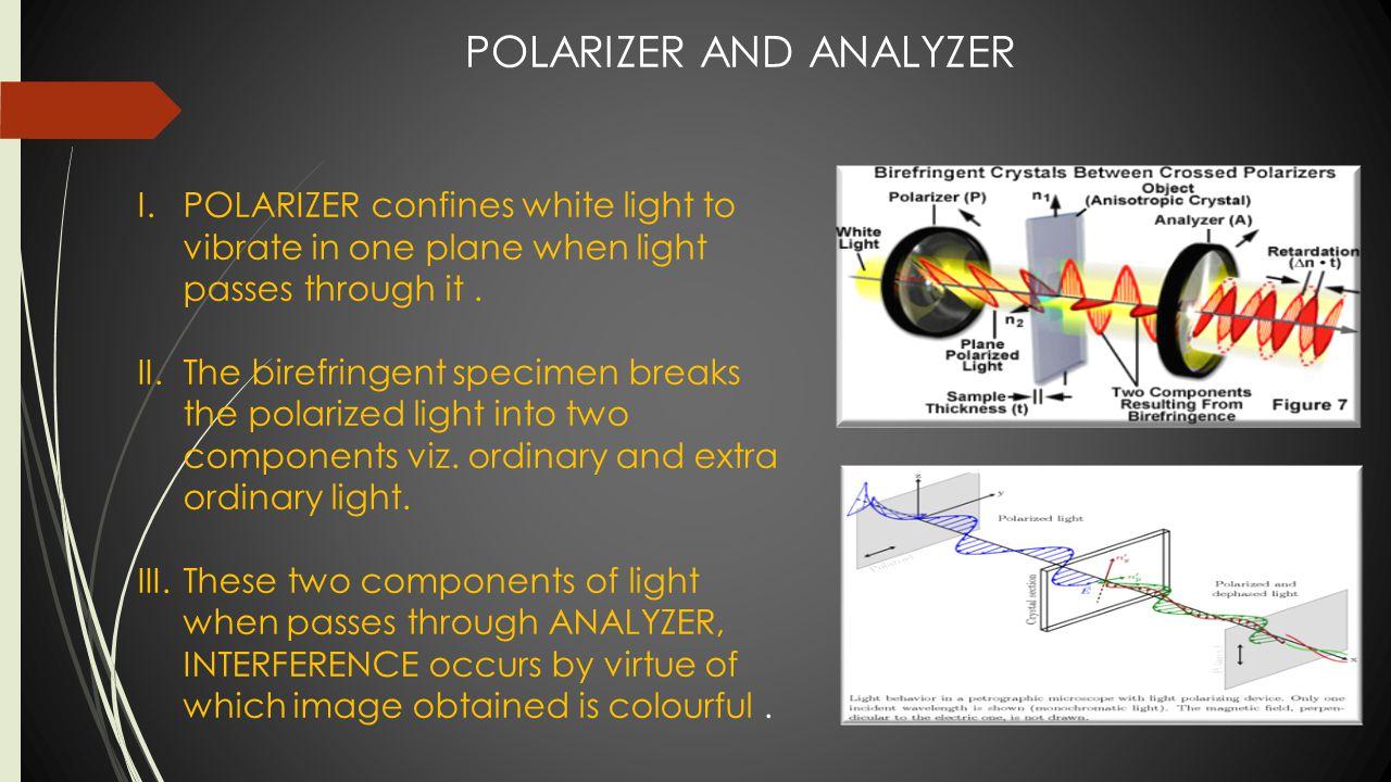 POLARIZER AND ANALYZER I.POLARIZER confines white light to vibrate in one plane when light passes through it. II.The birefringent specimen breaks the