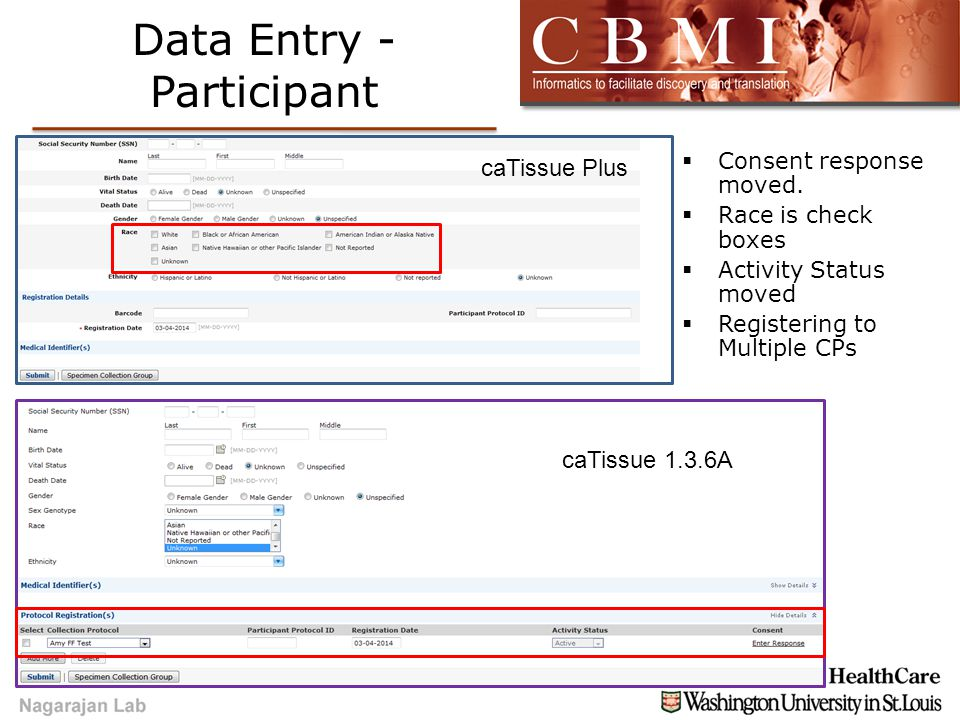 Data Entry - Participant  Consent response moved.  Race is check boxes  Activity Status moved  Registering to Multiple CPs caTissue Plus caTissue