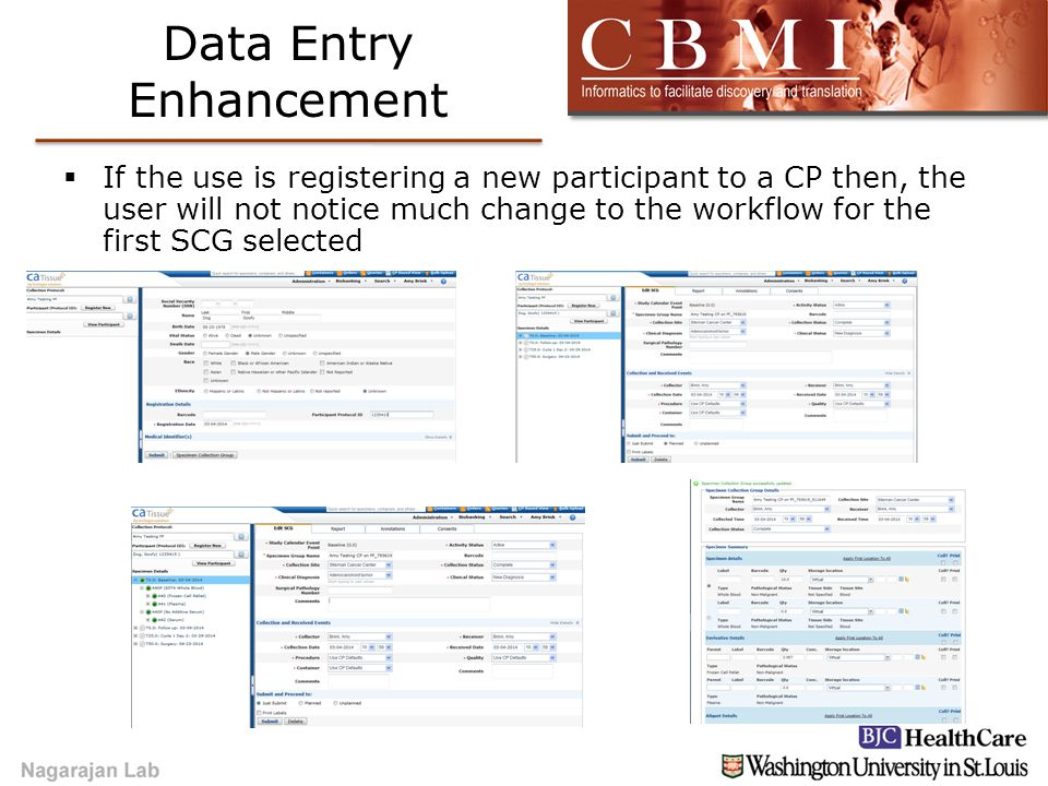 Data Entry Enhancement  If the use is registering a new participant to a CP then, the user will not notice much change to the workflow for the first