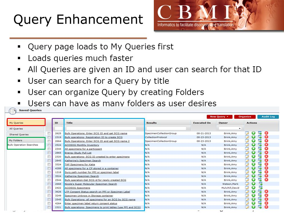 Query Enhancement  Query page loads to My Queries first  Loads queries much faster  All Queries are given an ID and user can search for that ID  U