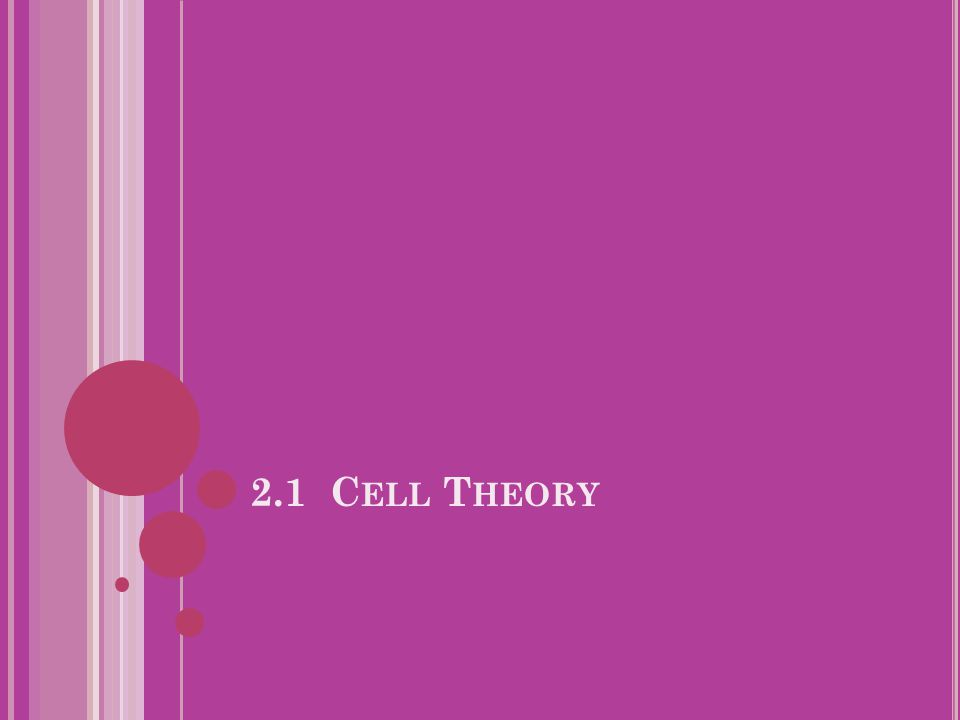 2.1.1 O UTLINE THE CELL THEORY.All living organisms are composed of cells.