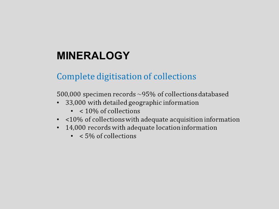BOTANY Virtual Herbarium storage requirements of 1.2 PB 6,000,000 herbarium sheets 630,000 database records 10% of collections databased 120,000 scans 2%of collections scanned Questions: Drill down.