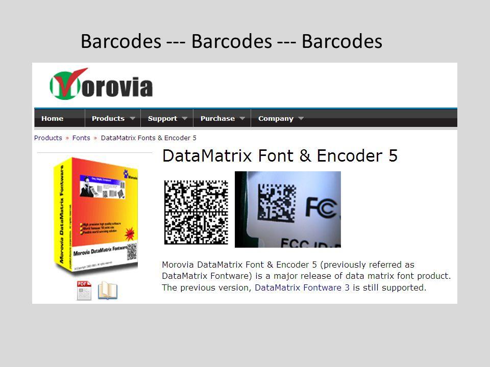 Barcodes --- Barcodes --- Barcodes